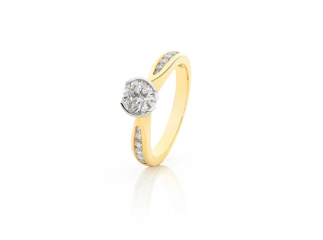 Rub set Yellow Gold Diamond Engagement Ring