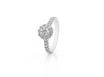 Claw set Halo Diamond Ring