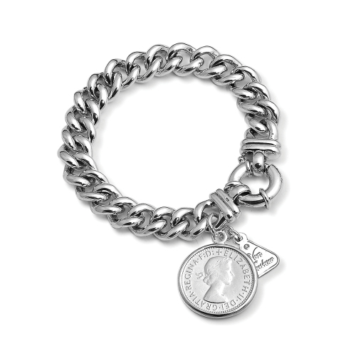 SILVER SMALL MAMA BOLT BRACELET WITH SHILLING