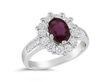 White Gold Ruby and Diamond dress ring
