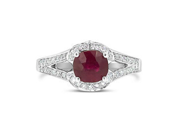 White Gold Ruby and Diamond split band dress ring.