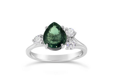 White Gold Green Tourmaline and Diamond ring
