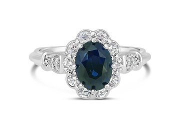 White Gold Sapphire and diamond dress ring