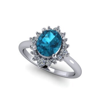 London Blue Topaz Halo Ring