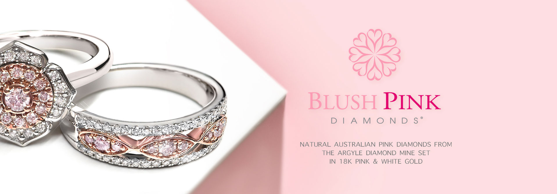 Blush Pink Diamonds fro the Argyle diamond mine set in 18K pink and white gold