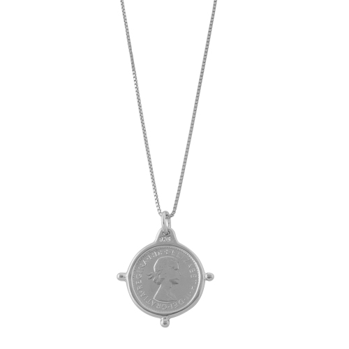 BOX CHAIN THREEPENCE NECKLACE