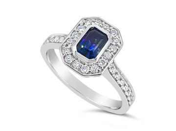 White Gold halo Sapphire and Diamond Dress ring