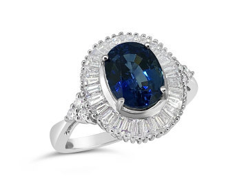 White Gold Baguette halo and Sapphire ring