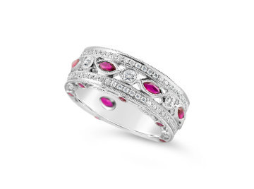 White Gold Ruby and Diamond band style dress ring.