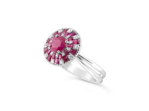 White Gold double halo Ruby and Diamond ring